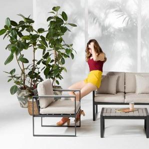 Catania, salon d'extérieur en bois composite polywood, tissu crème et métal gris - Tables salle à manger - Tables