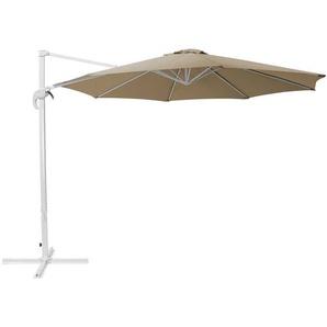 Parasol à pied déporté blanc et toile beige sable - BELIANI