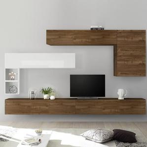 Ensemble meuble TV mural couleur bois et blanc PIANA