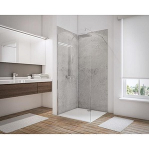 Lot de 2 panneaux muraux 100 x 210 cm + 3 profilés, revêtement pour douche et salle de bains, DécoDesign DÉCOR, Schulte, Pierre gris clair