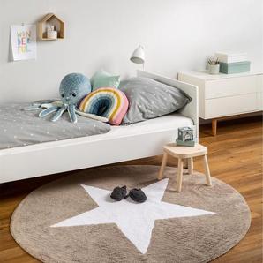 Tapis lavables pour enfants Bambini Star Beige ø 150 cm rond - Tapis lavable pour chambre denfants/bébé