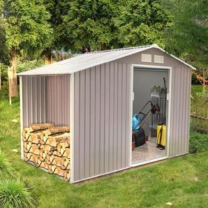 Ventoux 6.53 m² : abri de jardin avec abri bûches en acier anti-corrosion gris - CONCEPT-USINE