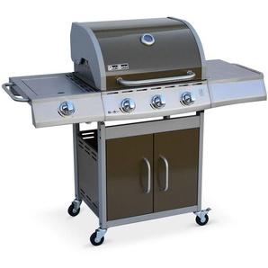 Barbecue au gaz Richelieu Marron, 4 brûleurs dont 1 feu latéral 14kW, côté grill et plancha, cuisine extérieure - ALICES GARDEN