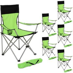 Lot de 6 Chaises de Camping pliables avec Porte Gobelet et Housse Sac de Transport Noir Vert - TECTAKE