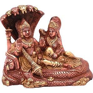 Exotic India Lord Vishnu and Goddess Lakshmi Seated on Sheshnag - Brass Statue - Color Copper Gold Color