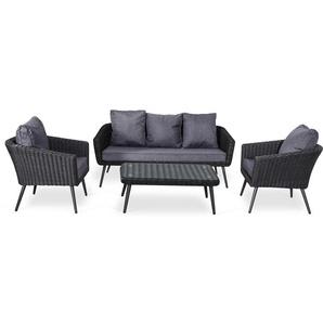 Ensemble salon de jardin scandinave Aluminium 5 places r�sine tress�e demie ronde -noir / gris - NILS 5 - AVRIL PARIS