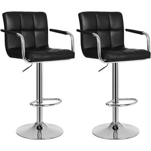 Lot de 2 Tabourets de bar haut Chaise de bar PU chrome hauteur réglable grande base 41cm LJB93B - SONGMICS