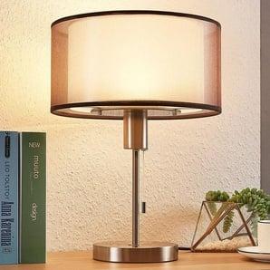 Lampe à poser LED en tissu Amon réglable, brune