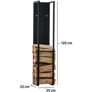 Porte-bûches Spark métal noir/mat 25x25x120 cm - BAUWERK MANUFACTURE