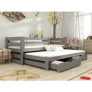 Lit gigogne Cuba pour enfant personnalisable - Graphite - 80 cm x 180 cm