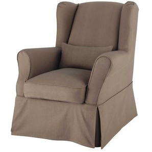 Housse de fauteuil en coton taupe Cottage