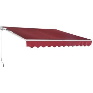 Store banne manuel rétractable aluminium polyester imperméabilisé 3L x 2,5l m rouge bordeaux - Outsunny
