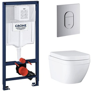 Grohe pack bâti-support Rapid Sl + plaque Arena chrome + cuvette Euro Ceramic + abattant softclose (euroceramicset1)