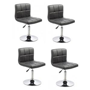 Lot de 4 chaises de salle à manger / cuisine simili-cuir noir hauteur réglable - DéCOSHOP26