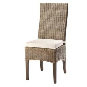 Chaise en rotin et mahogany massif Hampton