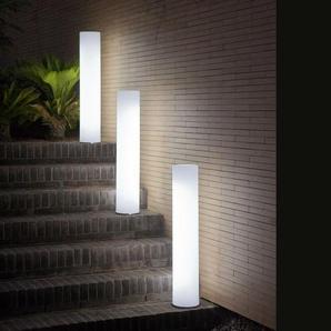 FITY-Lampadaire dextérieur / Colonne lumineuse LED RGB solaire rechargeable H102cm Blanc New Garden