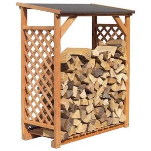 Abri bûches en bois coloris miel Simple - IDEANATURE