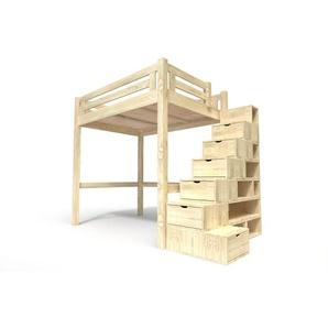 Lit Mezzanine Alpage bois + escalier cube hauteur réglable 160x200 Brut