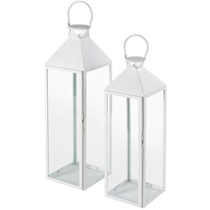 2 lanternes en métal blanc