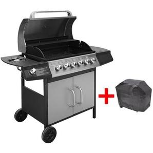 Hommoo Barbecue à gaz 6 + 1 zone de cuisson Noir et argenté