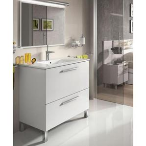 Meuble de salle de bain sur le sol 80 cm Blanc Brillant avec miroir | Blanc brillant - Avec colonne et lampe LED - BAGNO