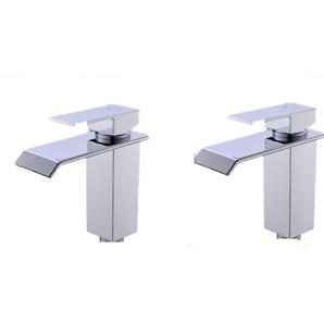 Cecipa 2X Mitigeur Lavabo Cascade Robinet Salle de Bain Chrome Bec Aplati Rectangulaire Valve Épargnant Deau Robinet de Lavabo Design Élégant
