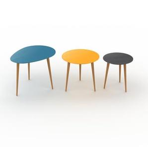 Tables basses gigognes - Noir, ovale/ronde/ronde, design scandinave, set de 3 tables basses - 67/50/40 x 50/47/44 x 50/50/40 cm