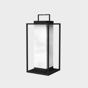 PACHA-Lanterne dextérieur LED solaire Aluminium/Toile de Canvas H74cm Noir Charbon Maiori