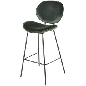 Chaise de bar en velours vert et métal noir Luna