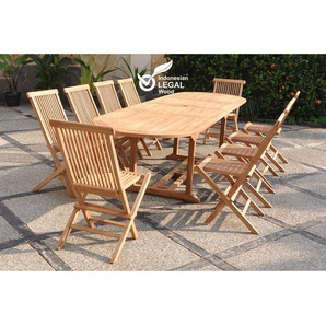 Kajang : Salon de jardin Teck massif 10 personnes - Table ovale + 10 chaises
