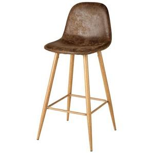 Chaise de bar en microsuède marron vieilli Clyde