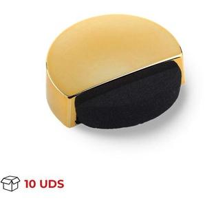 Boîte avec 10 Butée de porte adhésive REI, en plastique, finition or et forme circulaire