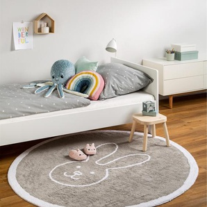Tapis lavables pour enfants Bambini Bunny Gris ø 150 cm rond - Tapis lavable pour chambre denfants/bébé