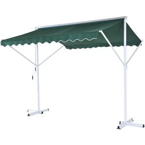 Store double pente manuel rétractable inclinaison réglable métal polyester imperméabilisé 2,95L x 2,95l x 2,6H m vert - Outsunny