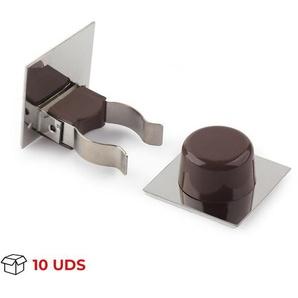 Boîte avec 10 Arrêt de porte avec poignée adhésive de marque REI, en plastique, avec fini marron et design classique