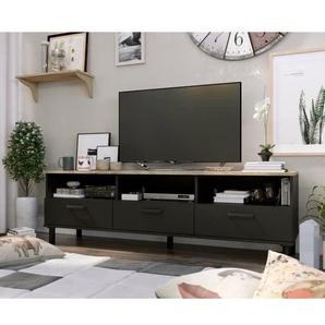 OXFORD Meuble TV décor noir et chêne -  Style industriel - L 158 x P 40 x H 47 cm