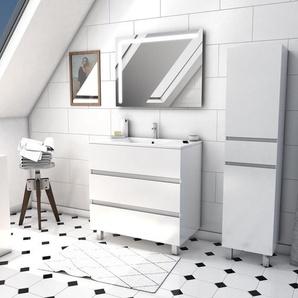 Ensemble Meuble de salle de bain blanc 60cm sur pied a 3 tiroirs + vasque ceramique blanche + miroir led integree + meuble colonne sur pied - STARTED pack 54 - AURLANE