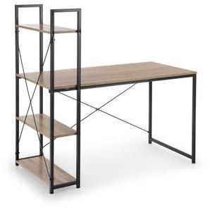 Bureau avec étagères style chêne et acier noir Loggia