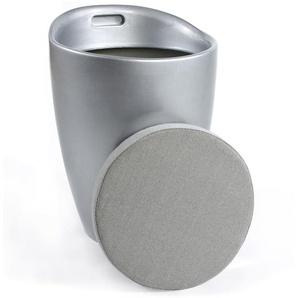 Tabouret coffre dappoint GUM gris argenté