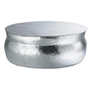 Table basse ronde en aluminium martelé Nomade
