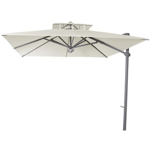 Parasol décentré Laterna Naturel anti-UV inclinable carré 300x300cm - PEGANE