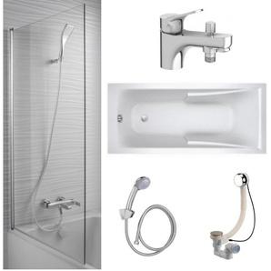 Jacob Delafon - Lot baignoire acrylique, mitigeur bain douche monotrou, pare bain et accessoires, 170 X 75
