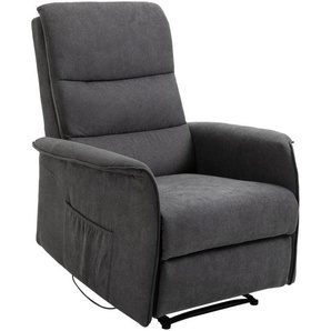 Fauteuil de relaxation grand confort dossier inclinable repose-pied ajustable flanelle gris - HOMCOM