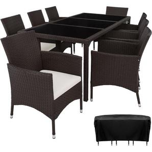 Salon de jardin VALENCIA - 8 Places 1 Table en Résine Tressée Structure Acier Marron + Housse de protection - TECTAKE