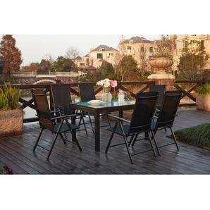 Brescia 6 : Ensemble de jardin en aluminium table extensible + 6 chaises en textilène