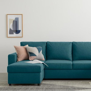 Edmond, canapé dangle convertible en U, bleu minéral