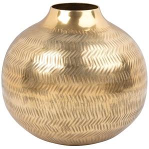Vase boule en métal martelé doré H17