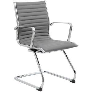Chaise visiteur Abbey - habillage cuir, gris - CERTEO