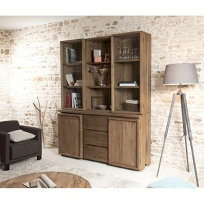 Vitrine - vaisselier 4 portes 3 tiroirs bois massif Tinesixe
