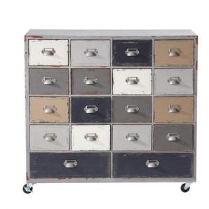 Cabinet de rangement à roulettes gris L 85 cm Odéon